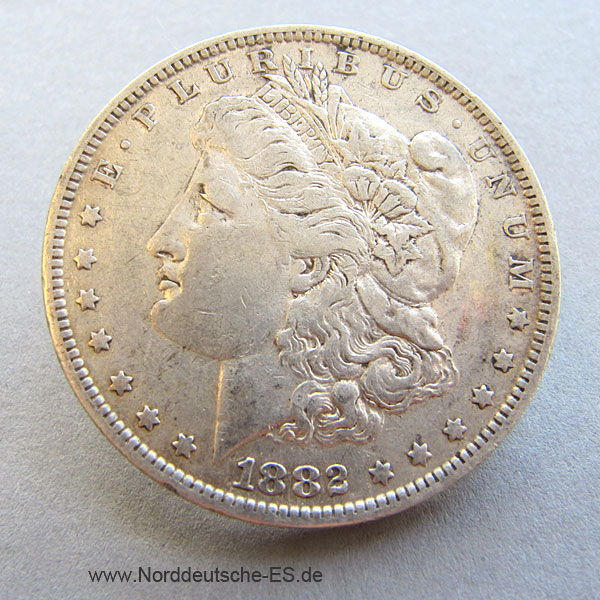 USA One Dollar 1882 Morgan Dollar Silbermünze