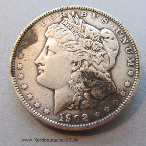 USA One Dollar 1902 Morgan Dollar Silbermünze