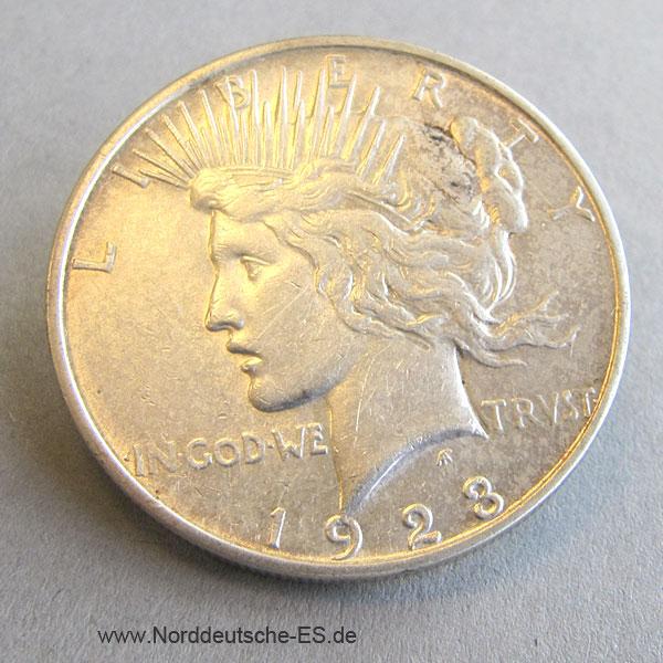 USA Peace Dollar One Dollar Silbermünze 1923