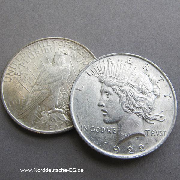 USA 1 $ Silber Peace-Dollar 1922