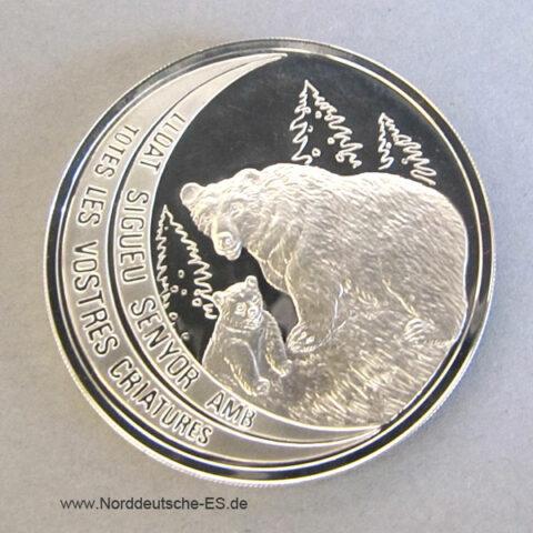 Andorra 1992 Braunbären 10 Diners Silbermünze