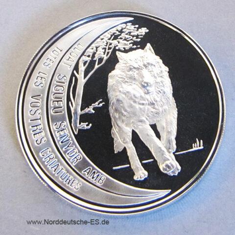 Andorra 1995 Wolf 10 Diners Silbermuenze gefährdete Tierwelt
