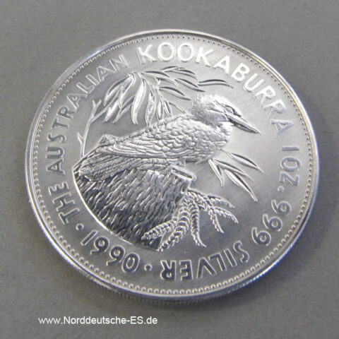 Australien 1 oz Silber 5 Dollar Kookaburra 1990