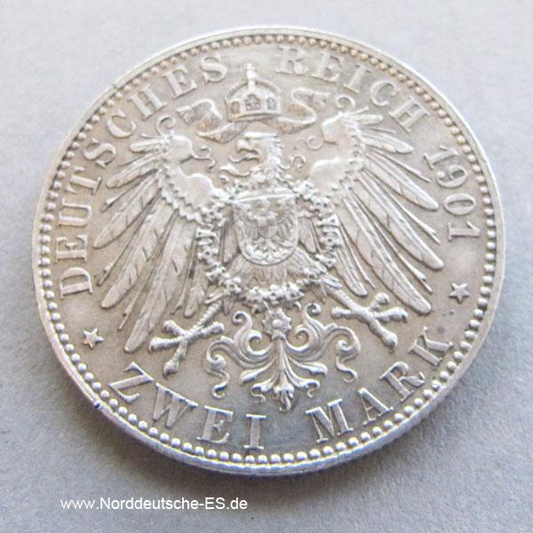 Deutsches Reich 2 Zwei Mark 1901 Silber Gedenkmünze