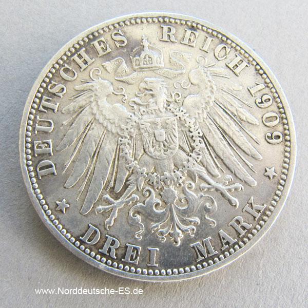 Deutsches Reich 3 Mark Silber Otto König Von Bayern 1908 1913