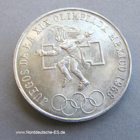 Mexico 1968 Silbermünze 25 Pesos Olympiade Juegos de la XIX