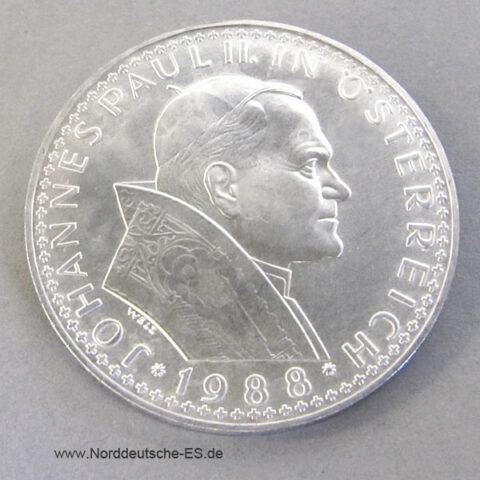 Österreich 500 Schilling Silber 1988 Papstbesuch Gedenkmünze matt