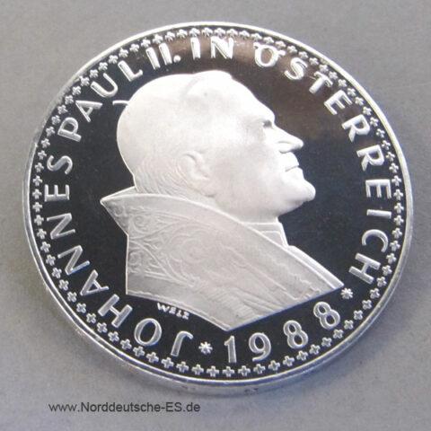 500 Schilling 1988 Österreich Papstbesuch polierte Platte