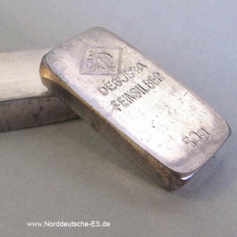 Silberbarren 50g Degussa historischer Kastenbarren