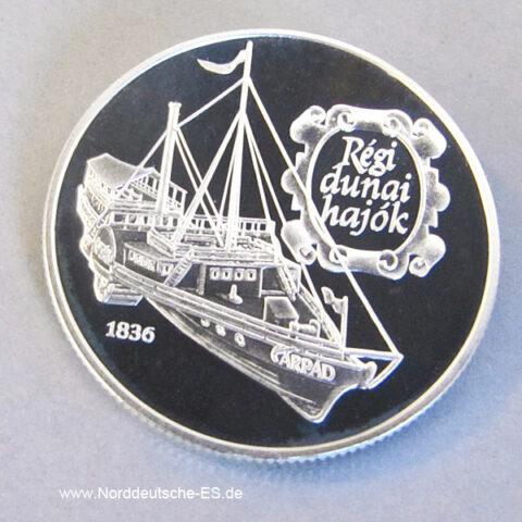 Ungarn 500 Forint 1993 Gedenkmünze Silber Seeschifffahrt Arpad 1836