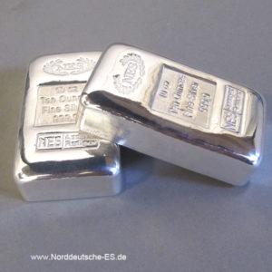 Silberbarren 10 oz Gussbarren 9999 Zertifikat Norddeutsche