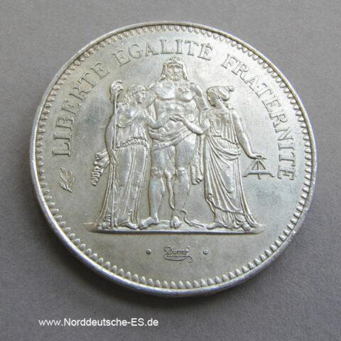 50 Francs Silbermünze Herkulesgruppe 1975