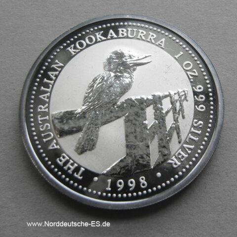 Australien 1 Unze Silber Kookaburra 1998