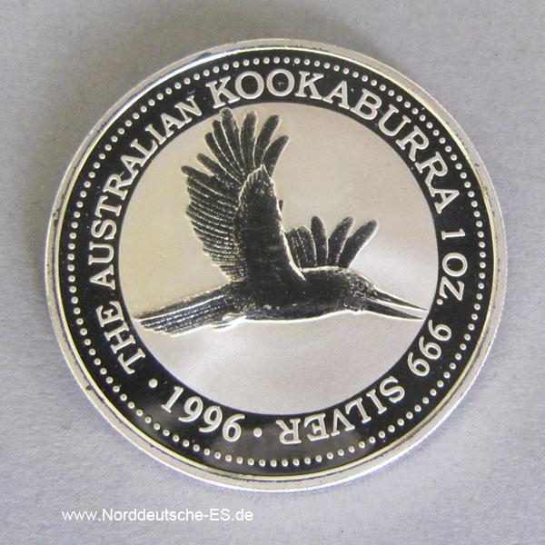 Kookaburra 1996 Silbermünze 1 Unze