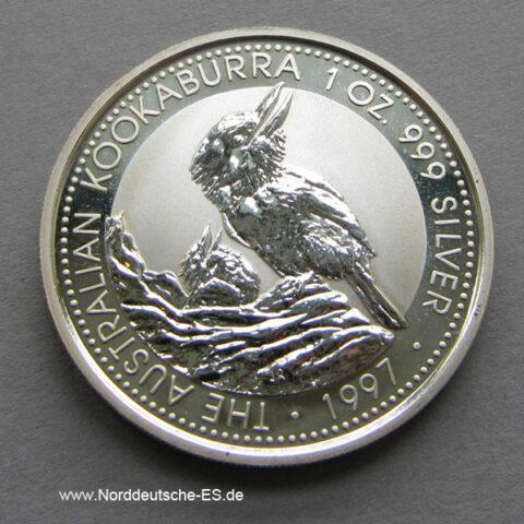 Australien 1 oz Silber Kookaburra 1997