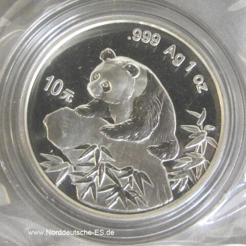 China Panda 10 Yuan 1 Unze Feinsilber 1999