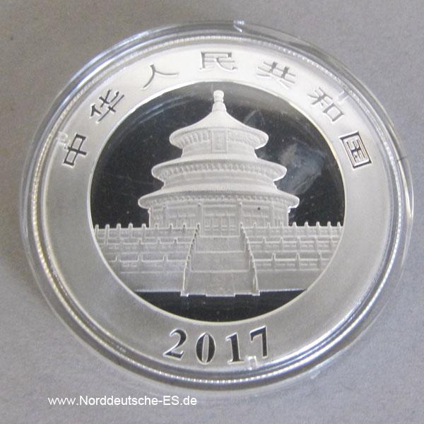 China Silber Panda 10 Yuan 30g Jahr 2017