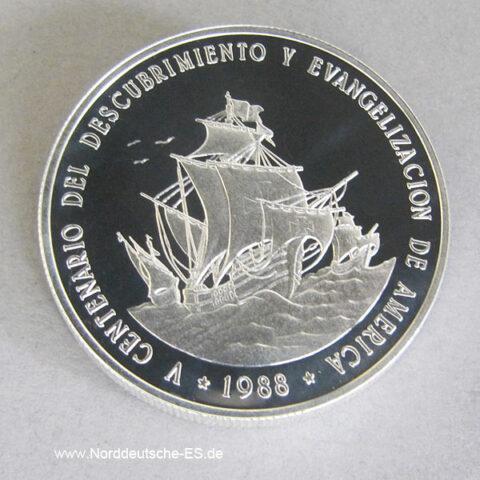 Dominikanische Republik 1 Peso 1 Oz Silber 1988