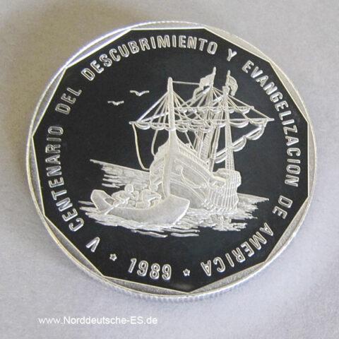 Dominikanische Republik 1 Peso Silber 1989