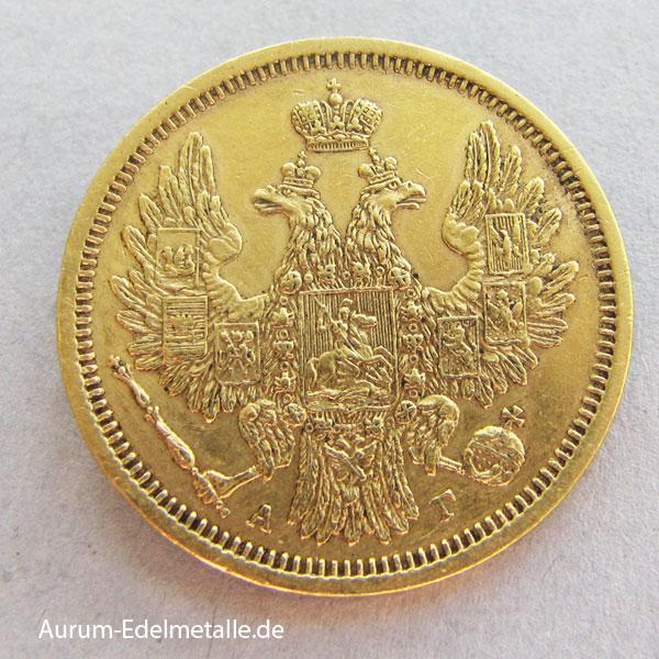 Russland 5 Rubel Nikolaus I Gold 1853