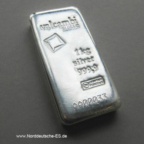 Silberbarren 1000g Valcambi 1kg Feinsilber