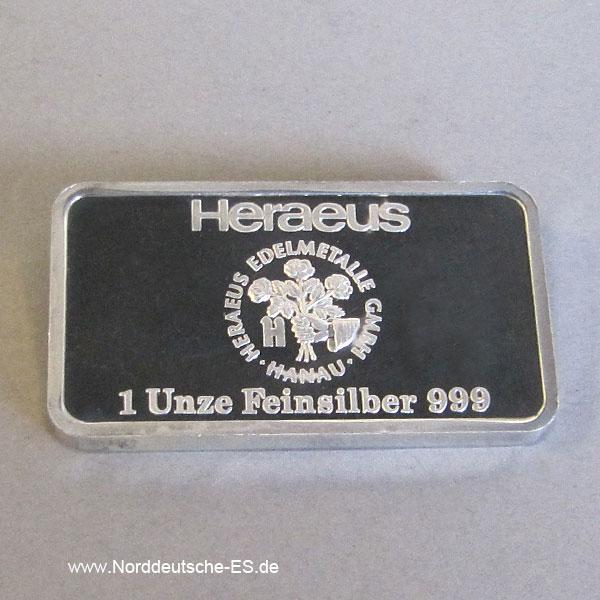 Silberbarren Heraeus 1 Unze