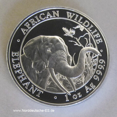 Somalia African Wildlife Elephants 1oz Silber 2018