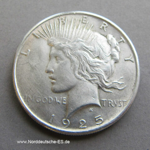 USA Peace One Dollar Silber 1925