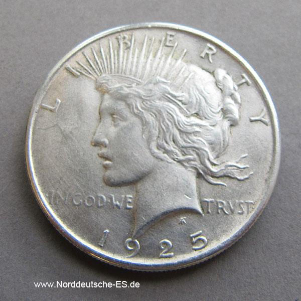USA Peace One Dollar Silber 1925
