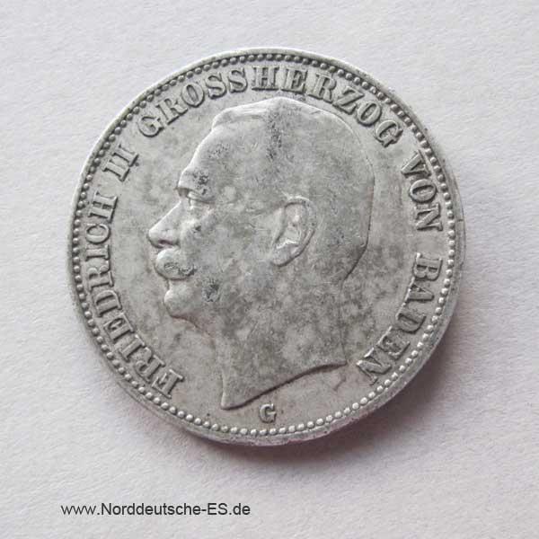 3 Mark Friedrich II Baden 1908-1915 Silber