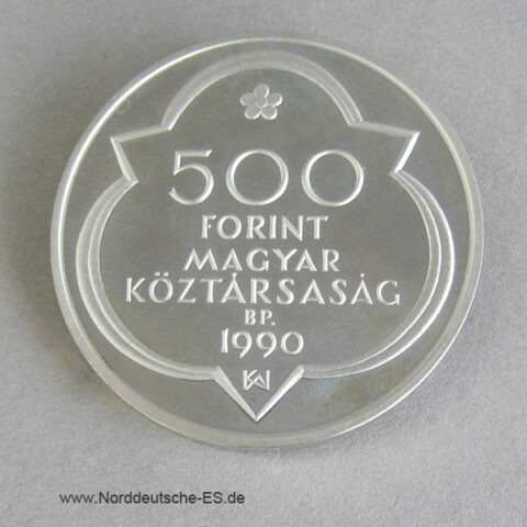 Ungarn 500 Forint 1990 Silber Mathias Corvinus