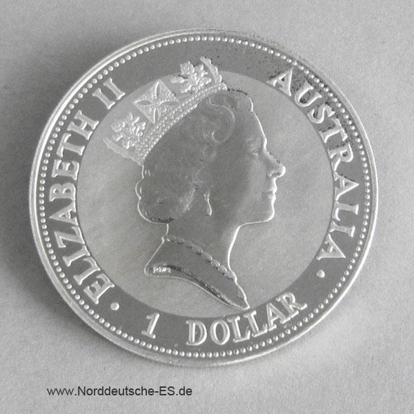 Australien 1 oz Silber Kookaburra 1992