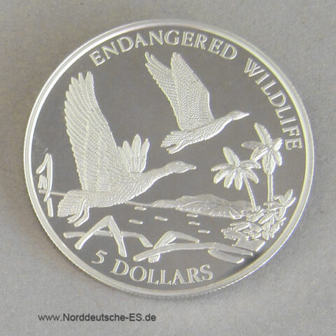 Bahamas 5 Dollars 1994 Endangered Wildlife Gänse