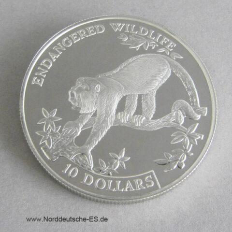 Belize 10 Dollars Silber 1995 Endangered Wildlife Brüllaffe