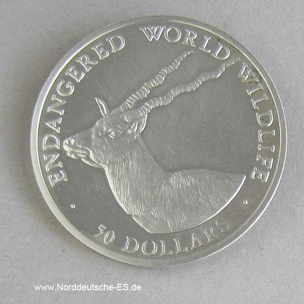 Cook Islands 50 Dollars 1990 Endangered World Wildlife Schwarzbock
