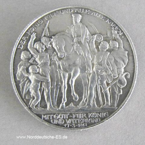 Deutsches Reich 2 Mark Silber 1913 Der König rief