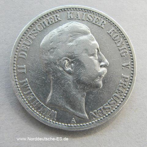 Deutsches Reich 2 Mark Silber Kaiser Wilhelm 1891-1912