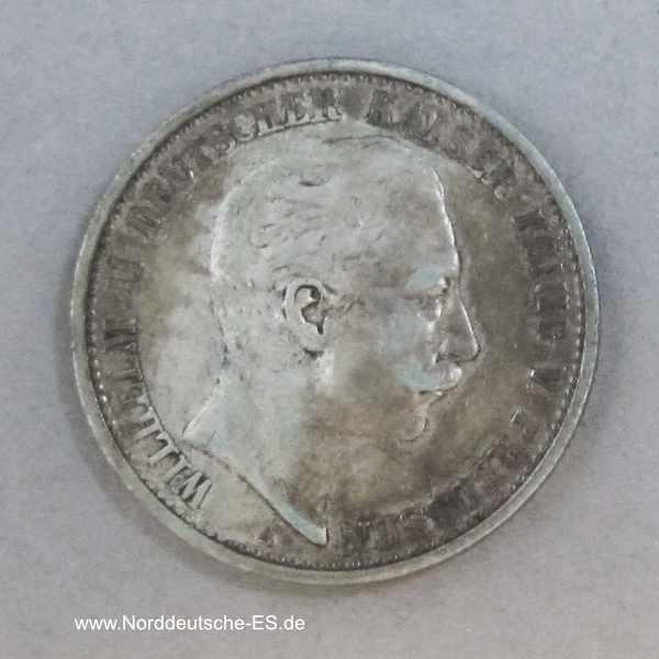 Deutsches Reich 2 Mark Silber Kaiser Wilhelm II 1891-1912
