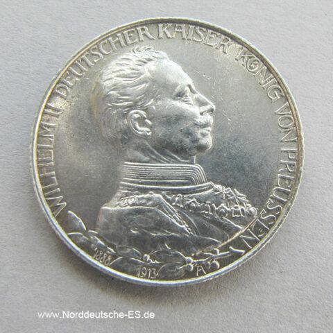 Deutsches Reich 2 Mark Wilhelm II 1913 Silbermünze