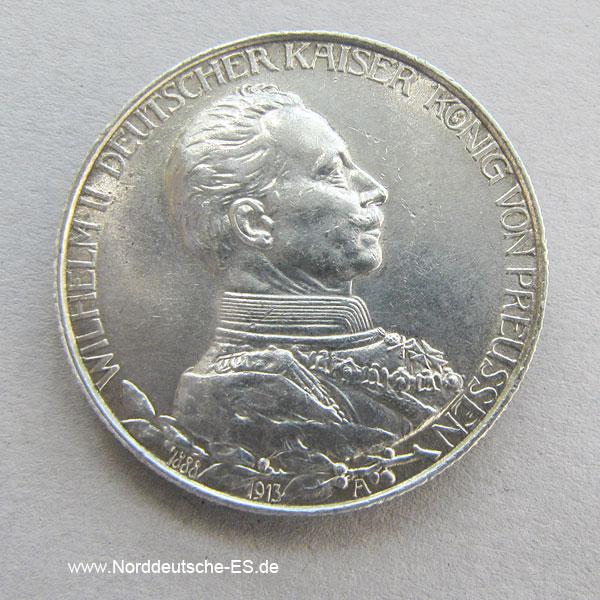 Deutsches Reich 2 Mark Wilhelm Ii Preussen 1913 Silbermünze