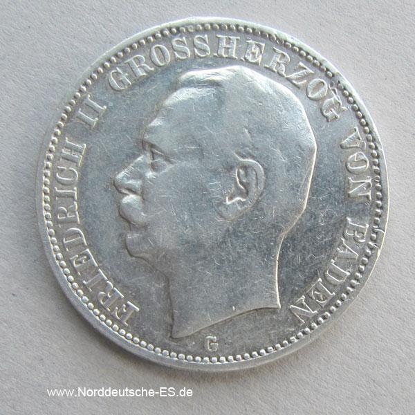 Deutsches Reich 3 Mark Friedrich II Baden 1908-1915 Silber