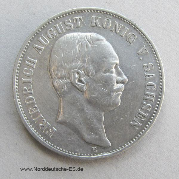 Deutsches Reich 5 Mark Silber Friedrich August Sachsen 1907