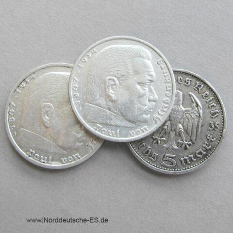 Deutsches Reich 5 Reichsmark Hindenburg Silber 1935