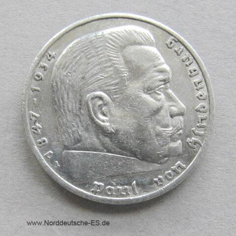 Deutsches Reich 5 Reichsmark Hindenburg Silber 1936