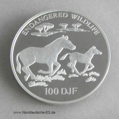 Djibouti 1994 Grevy Zebra 100 DJF Silber Endangered Wildlife