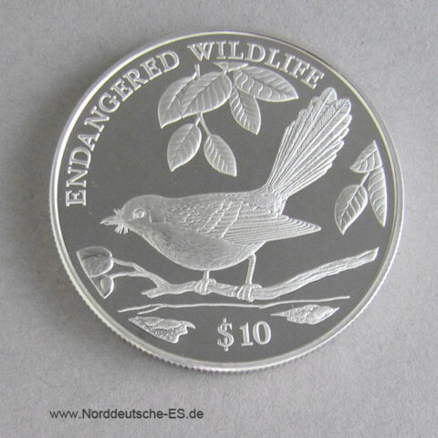 Fidschi 10 Dollars 1995 Endangered Wildlife Fiji Vogel
