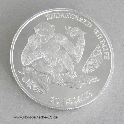 Gambia 20 Dalasis Silber 1994 Schimpanse Endangered Wildlife