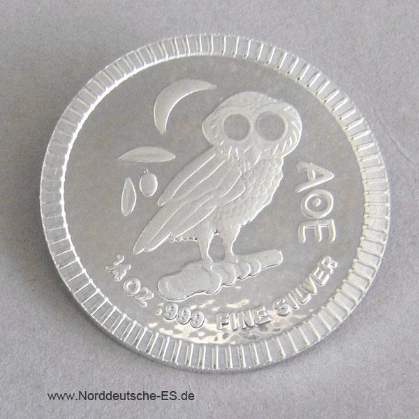 Griechenland Eule von Athen 1_4 oz Silbermünze 2017