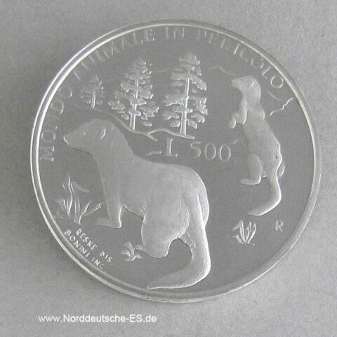Italien San Marino 500 Lire Silber Animale Pericolo Iltis