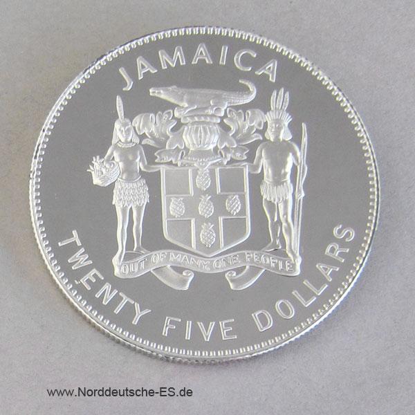 Jamaica 25 Dollar Silber 1995 Endangered Wildlife Rotspiegelamazone